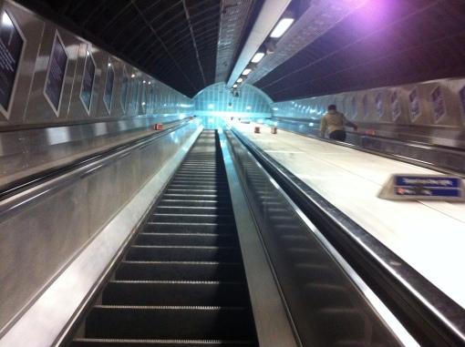 Going up an escalator