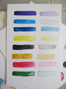 Watercolour colour samples