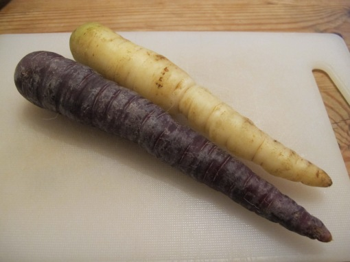 Purple and white carrots