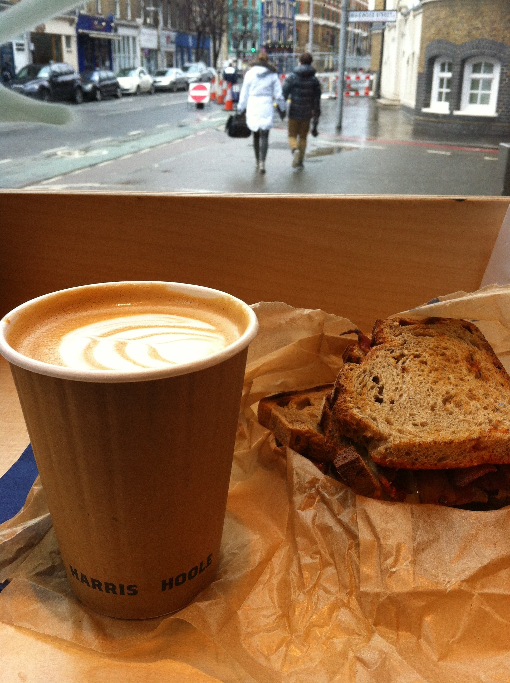 Harris & Hoole Flat White and Bacon Buttie