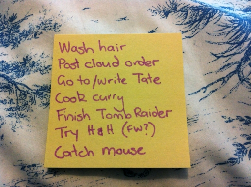 To do list on a yellow post-it note